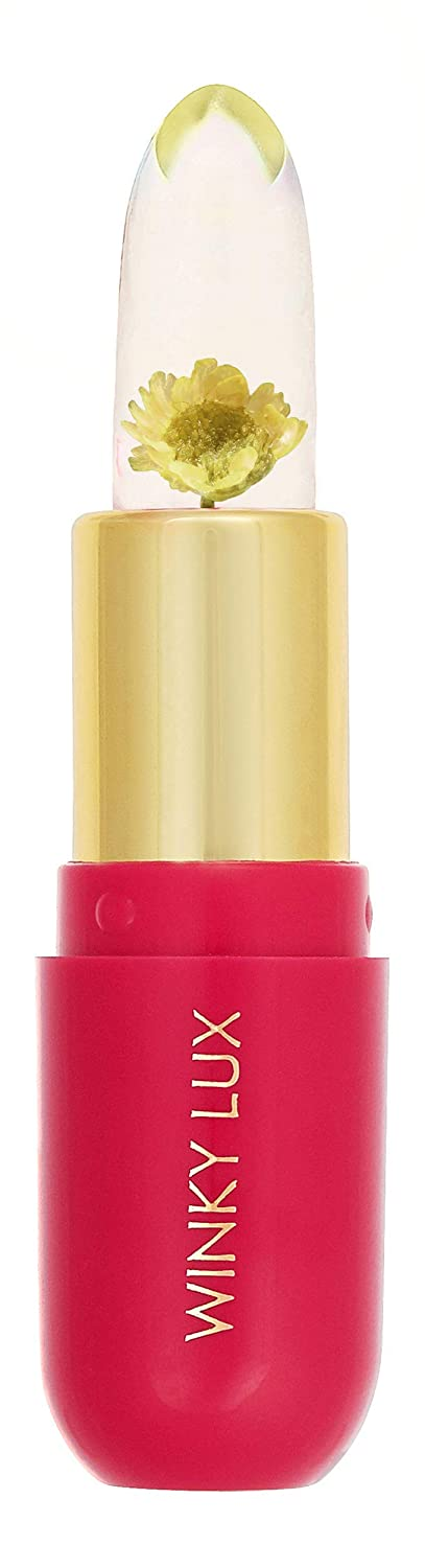 Winky Lux Flower Balm, Color Changing Flower Jelly Lip Balm Cosmetics, Find Your Perfect Shade of Pink Using The Unique pH Level of Your Lips, 0.13 Oz, Yellow Flower