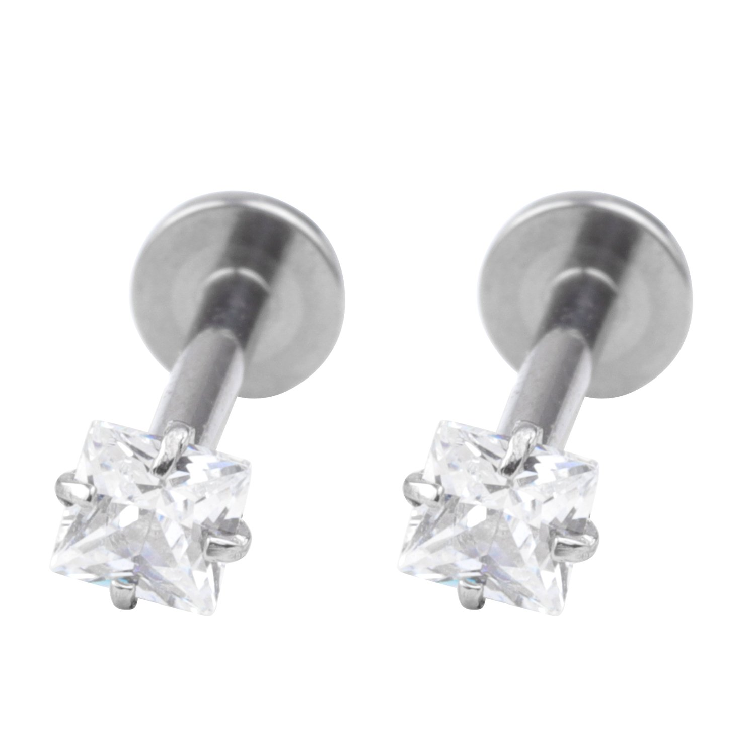16G 2pcs Surgical Steel 3mm Square Clear Cubic Zirconia Labret Monroe Lip RingTragusHelix Earring