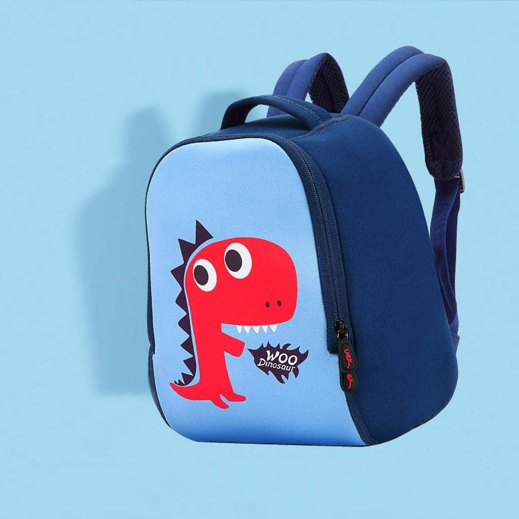 CXQ Cute Childrens School Backpack Blue Little Dinosaur Cartoon 1~6 Years Old Girl Boy School Shoulder Small Bag Size : M