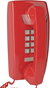 Home Intuition Amplified Single Line Corded Wall Mounted Telephone with Extra Loud Ringer, Red