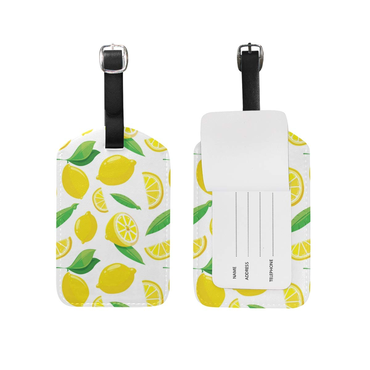 Lrregular Lemon Slice Sling PU Leather Luggage Tag Label Suitcase Travel Accessories 1 Piece