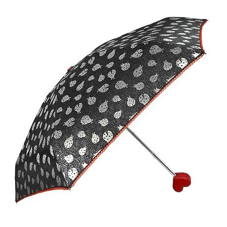 Paraguas Plegable Mariquitas con Mango en Forme de Corazón - Sombrilla Super Mini - Bordo en