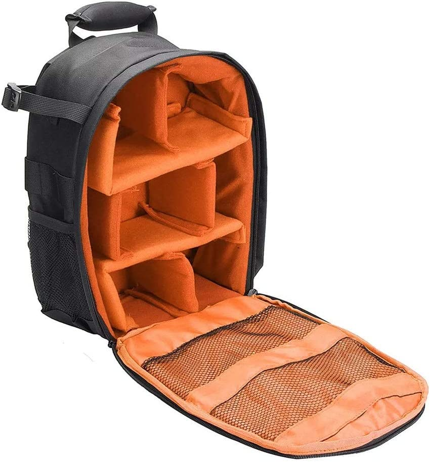 Balalafairy-Home Multi-Function Waterproof Shoulder Bag Backpack Rucksack with Reflective Stripe for DSLR Camera with Reflective Stripe Color : Orange, Size : One Size