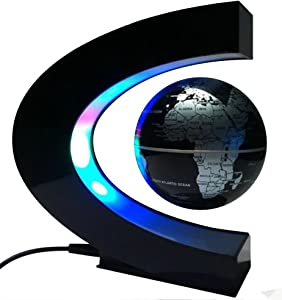 arVin Floating Globe, Magnetic Levitation Globe Rotating Globe Educational Learning Geographic Political World Map with Funny C Shape Desktop Stand & LED Light for Home School Desk Office Décor Black