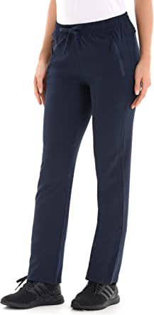U.mslady Women's Elastic-Waist Drawstring Sweatpants w/Zipper Pockets - Lightweight, Soft