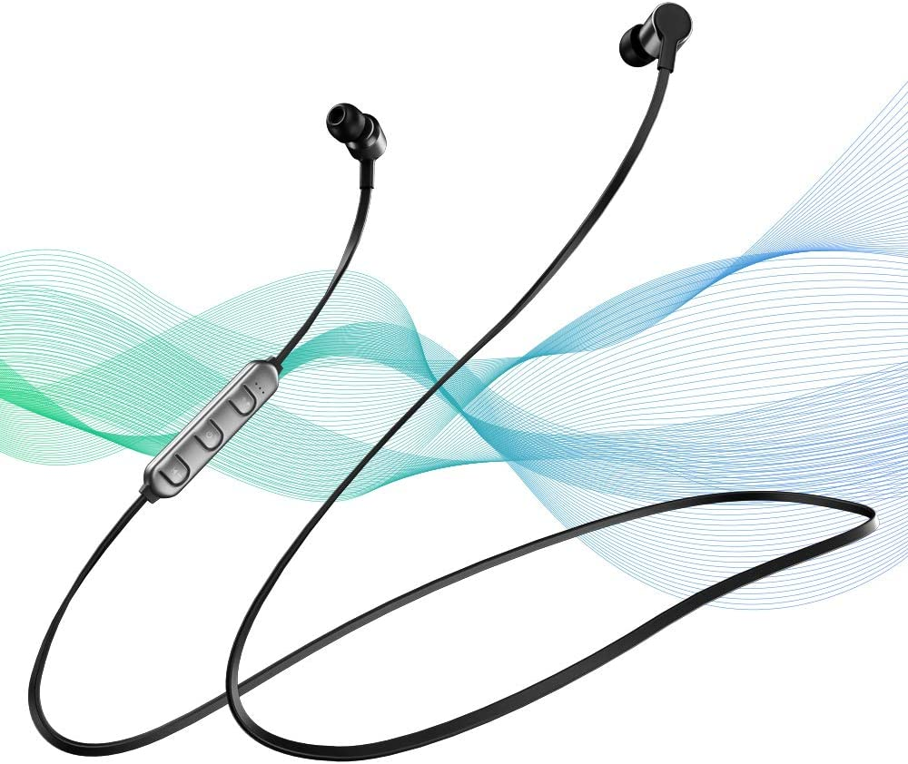Bluetooth Headphones, Linpa World Bluetooth 5.0 HD Stereo Wireless Earbuds with mic, 10 Hours Playtime, IPX5 Waterproof Sports Earphones