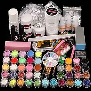 Morovan Acrylic Nail kit Acrylic Powder Liquid Monomer Nail Brush Professional Nail Extension Glitter Polymer Nail Tips Starter Nail Art Tools liquid Kit Gift Box Set