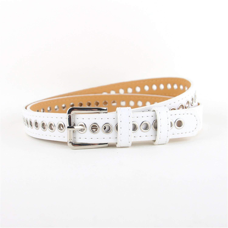 OnIn leather silver pin buckle thin leather hollow belt jean belts women,105cm,White Color