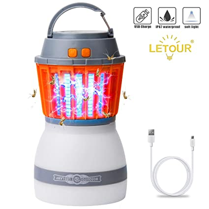 Bug Zapper Camping Lantern LED Flashlight 3 in 1 Mosquito Zapper Charge Via USB Lightweight Camping Gear /& Accessories for The Outdoors /& Emergencies IP67 Waterproof Compact 2000mAh