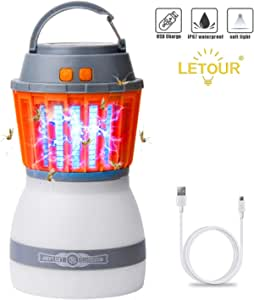 LETOUR Mosquito Zapper Outdoor Lantern LETOUR 4 Modes Dimmable Portable Light Quiet Efficient Mosquito Killer Washable Waterproof IP67 USB Rechargeable Mosquito Light