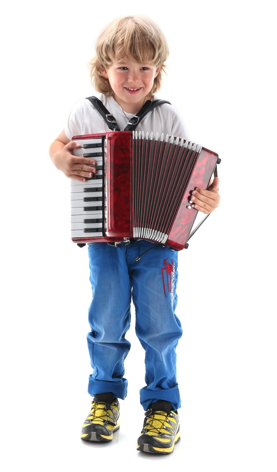Classic Cantabile Secondo Junior 8 Bass Accordion 22 Treble Keys Eight Bass Keys with Strap and Gig Bag Red by Classic Cantabile (Image #3)