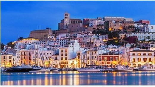 1000 Piezas De Rompecabezas De Paisajes Bricolaje Ibiza Dalt Vila En El Centro De La Noche Con Reflejos De Luz En El Agua Ibiza España Puzzles Rompecabezas Creatividad Juguetes Para Niños Adultos: