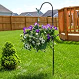 "Home-X 48"" Adjustable Height In-Ground Shepherds Hook. Steel Hook For Hanging Planters, Bird Feeders, Mason Jars, Solar Lights & Lanterns, Insect Repellents & More"