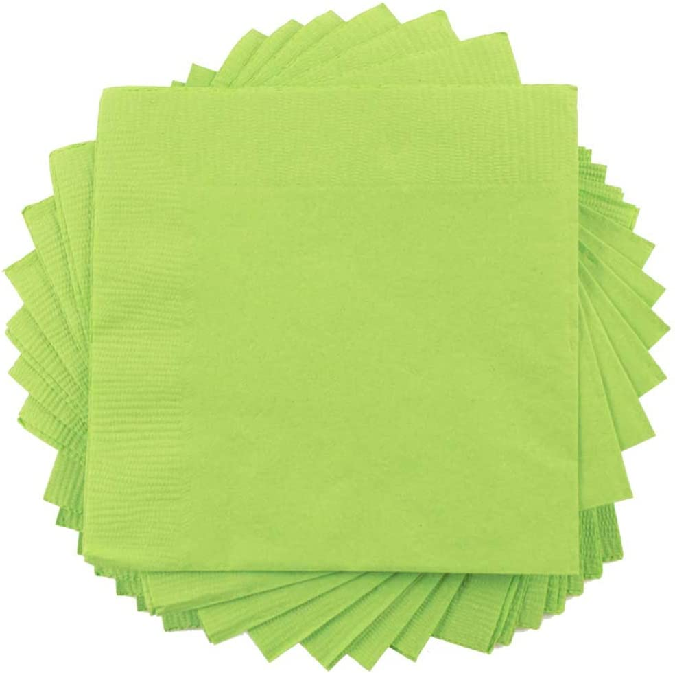 JAM PAPER Small Beverage Napkins - 5 x 5 - Lime Green - 50/Pack