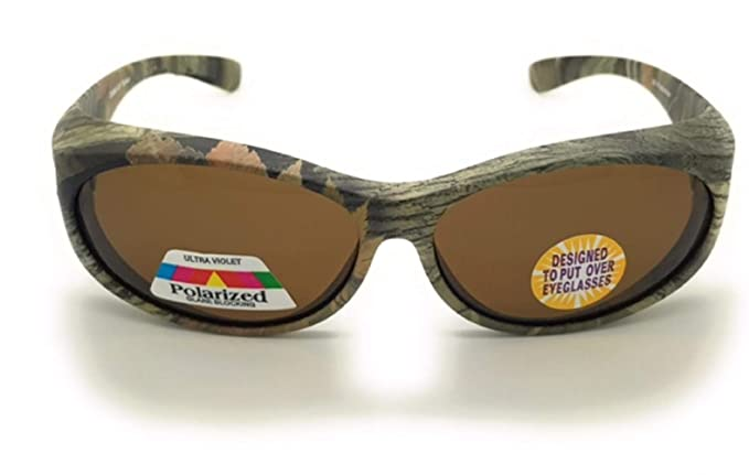 2521346116 Amazon.com  Polarized Fit Over Oval Frame Camouflage Print Sunglasses Wear  Over Prescription Glasses (2 pac Pink   Green
