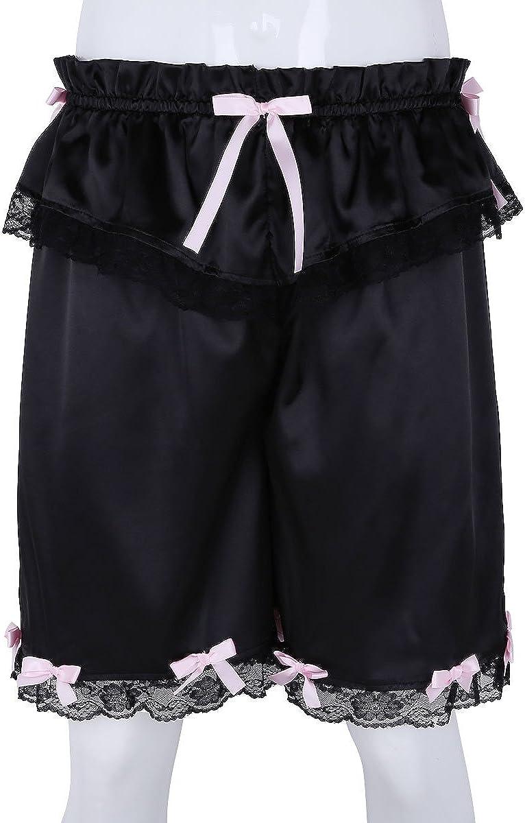 Alvivi Mens Satin Silky Pajamas Shorts Boxer Loose Lounge PJ Bottoms Sleepwear Bloomers Pants