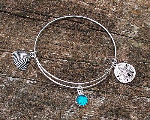 [Recycled Vintage Mason Jar Adjustable Wire Ocean Beauty Bracelet] (Glass Lightweight Bracelet)