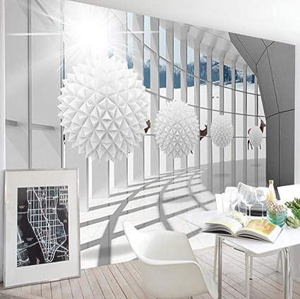 3D papier peint moderne couloir sphérique bâtiment espace ...