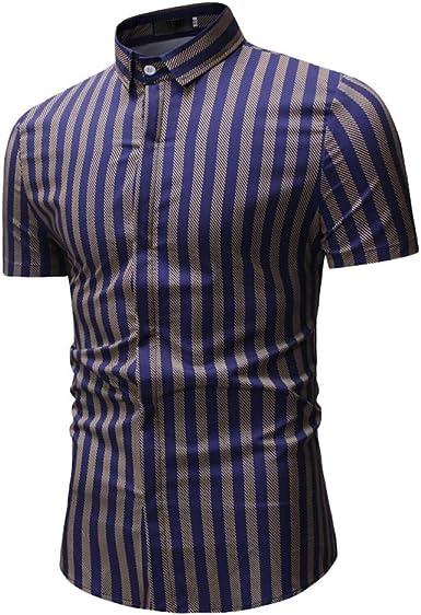 Jinyuan Camisa para Hombre Moda Verano Casual Hombres Plaid Casual Camisa De Manga Corta con Botones Blusa Superior: Amazon.es: Ropa y accesorios