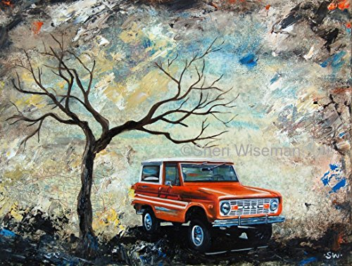 1970's Orange Ford Bronco, artist signed PRINT, fathers day, gift, christmas, present, men, man