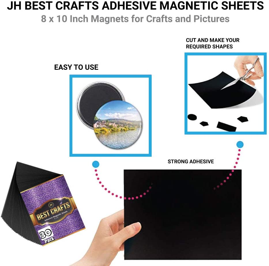 Flexible Magnet with Adhesive Backing Cut to Any Size Pack of 30 8 x 10 Inch Magnets for Crafts and Pictures JH Best Crafts Adhesive Magnetic Sheets