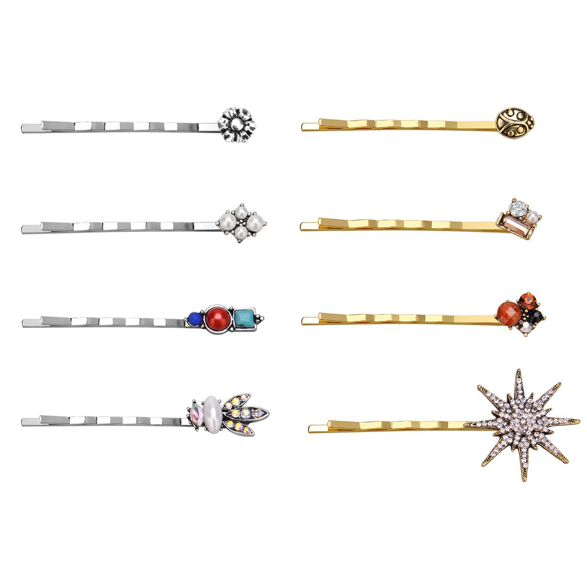IPINK-Decorative Bobby Pins Hairpin Flower Star Crystal Hair Side Clip Barrette Pin Hairpin Hair Accessories 17ZTD040-43