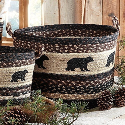 Black Bear Braided Utility Rustic Basket - Large