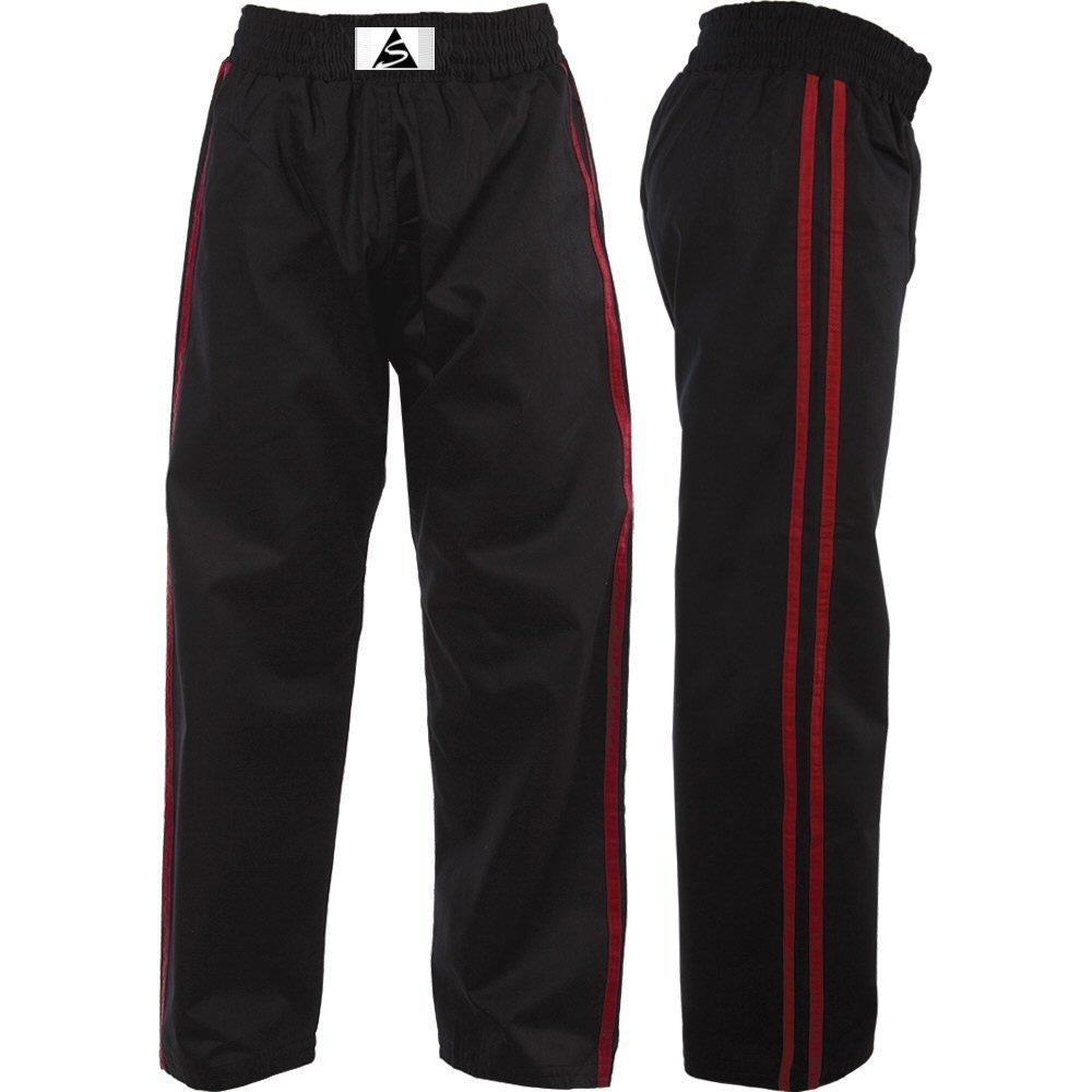 Esprit soie en satin noir avec rayures rouge pour enfant Kickboxing Pantalon pour femme Spirit Sports SKKT-SAT