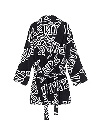 ca48169716038 Victoria s Secret Pink Cozy Black White Font Print Short Robe XS S ...