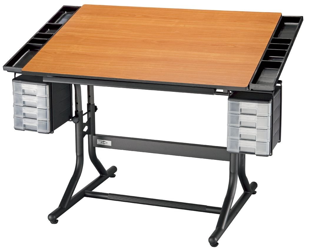 Alvin CM48-3-WBR CraftMaster II Deluxe Art, Drawing, and Hobby Table Black Base with Cherry Woodgrain Top