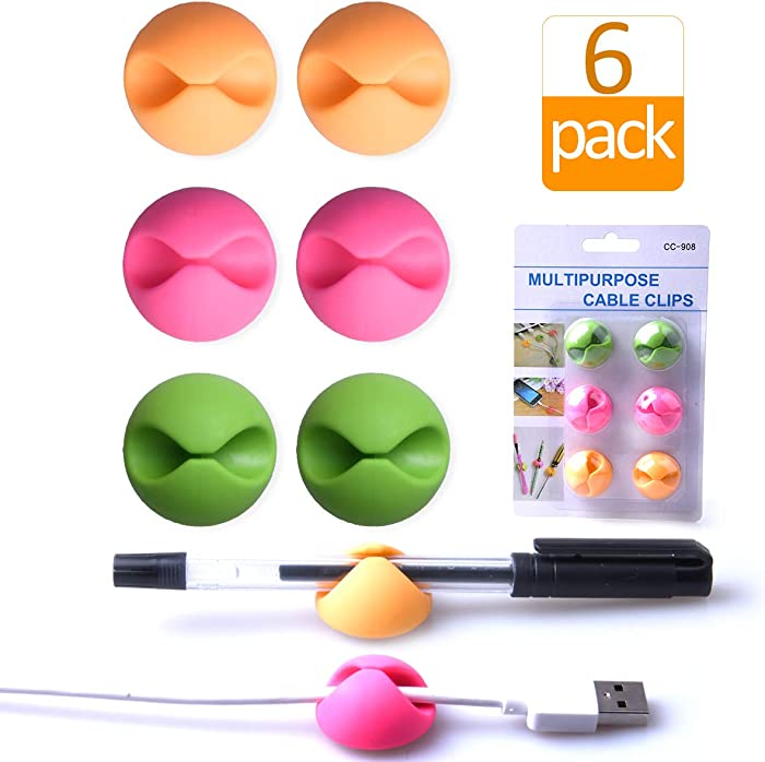 Cable Clips Organizer for Desk Color,Wire Clips Desktop,Cable Holder Adhesive,Cord Holder for Table,Car,Computer,Charging Cable,USB Cable,Mouse,Headphone,Office,Cubicle,ect.(2 Pink+2 Orange+2 Green)