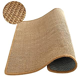 "M&MKPET Natural Sisal Cat Scratcher Mat Horizontal Cat Floor Scratching Pad Rug Scratch Pad for Cat Grinding Claws & Protecting Furniture (23.6"" 23.6"")"