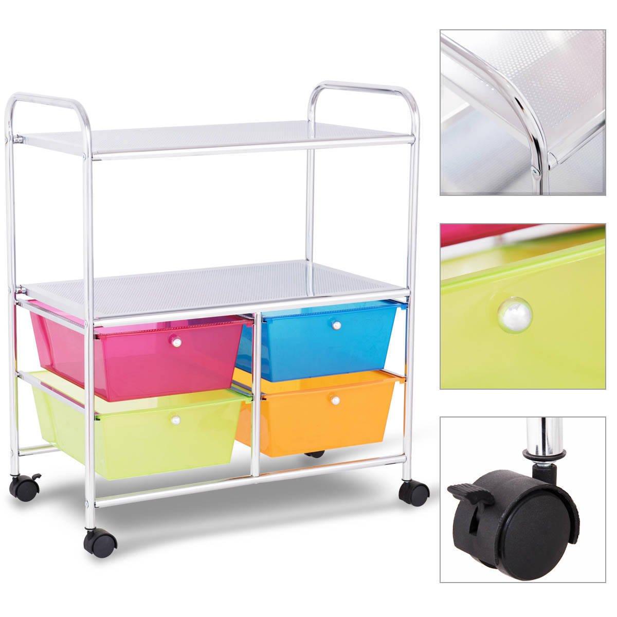 Giantex Rolling Storage Cart w/ 4 Drawers 2 Shelves Metal Rack Shelf Home Office School Beauty Salon Utility Organizer Cart with Wheels (Blue Green Orange & Red) by Giantex (Image #6)