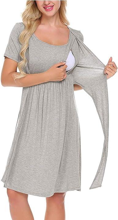 Camisón Embarazada Maternidad Lactancia Pijama Hospital de Vestido Premama Verano de Algodón de Manga Corta Ropa de Dormir para Mujer: Amazon.es: Ropa y accesorios
