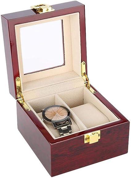 Caja para Relojes para Mujer Hombre - 2 Compartimentos Madera Vitrina Avanzada de Capa: Amazon.es: Belleza