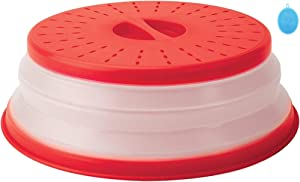 PUZERM Collapsible Microwave Splatter Cover Steam Vented Plate Guard Lid Cover with Silicone Cleaning Mat for Food, Drainer Basket, Dishwasher-Safe, BPA-Free Silicone & Plastic 10.5 inch, Red