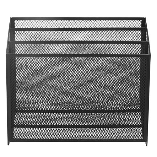Black Metal Mesh Desktop Magazine/Folder Holder, 3 Compartment Office Organization Rack (Magazine Wide Rack Top)