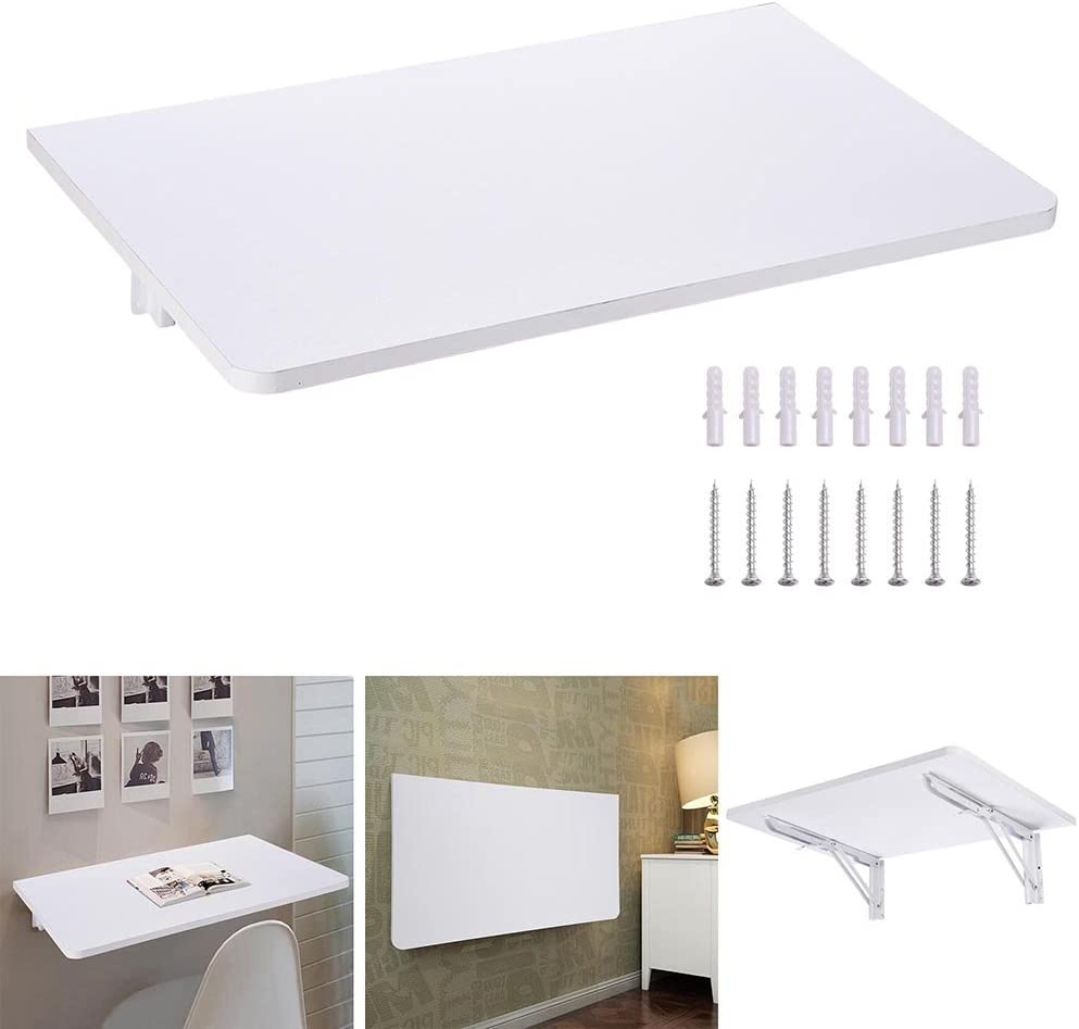 White Floating Wall Mount Laptop Desk Fold Down Workstation Console Coffee Convertible Beside Table Home