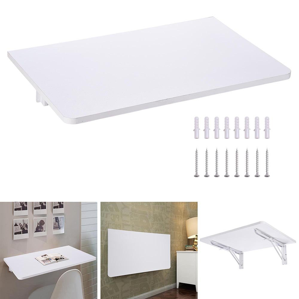 Yescom Wall Mounted Floating Folding Computer Desk 66lbs Weight Capacity PC Dining Wooden Table 23 5/8'' x 15 3/4'' White