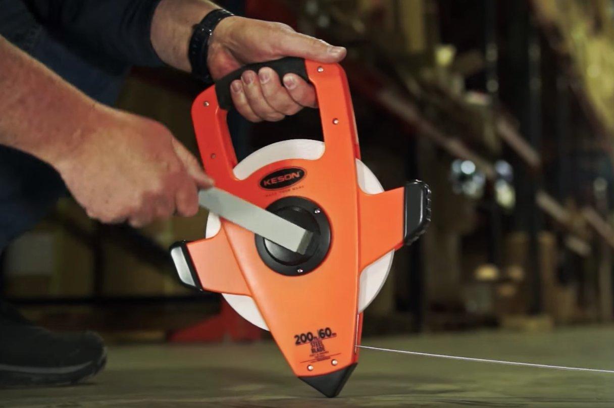 Keson NRS18200 Nylon-Reinforced Steel Blade Tape Measure, Speed Rewind (Graduations: ft., in. 1/8), 200-Foot