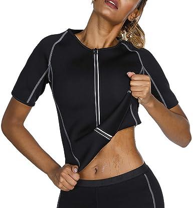 Mujer Hombre Sudor Sauna Camisa Pérdida de Peso Body Shaper Cintura de Manga Corta Trainer Neopreno Sauna Traje: Amazon.es: Ropa y accesorios