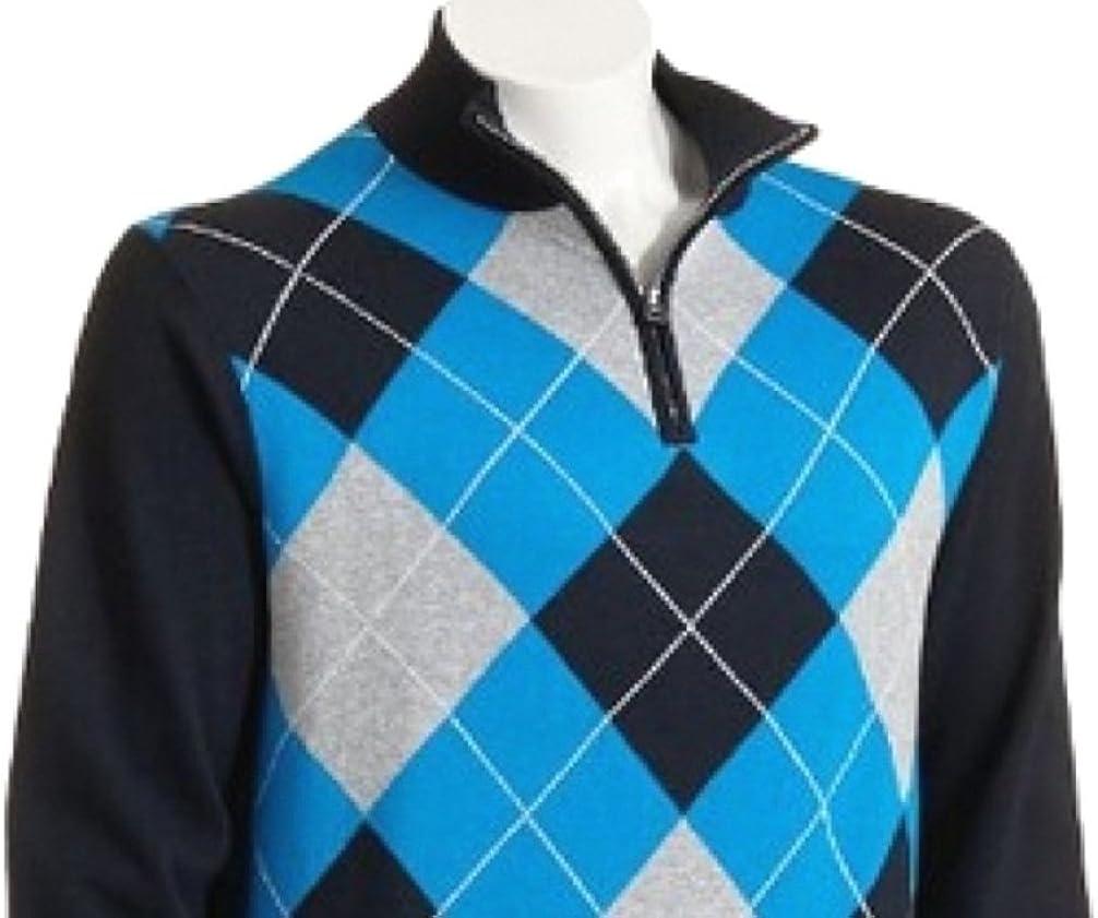 CHAPS Mens Argyle Mockneck Pullover Sweater Size X-Large Navy Blue