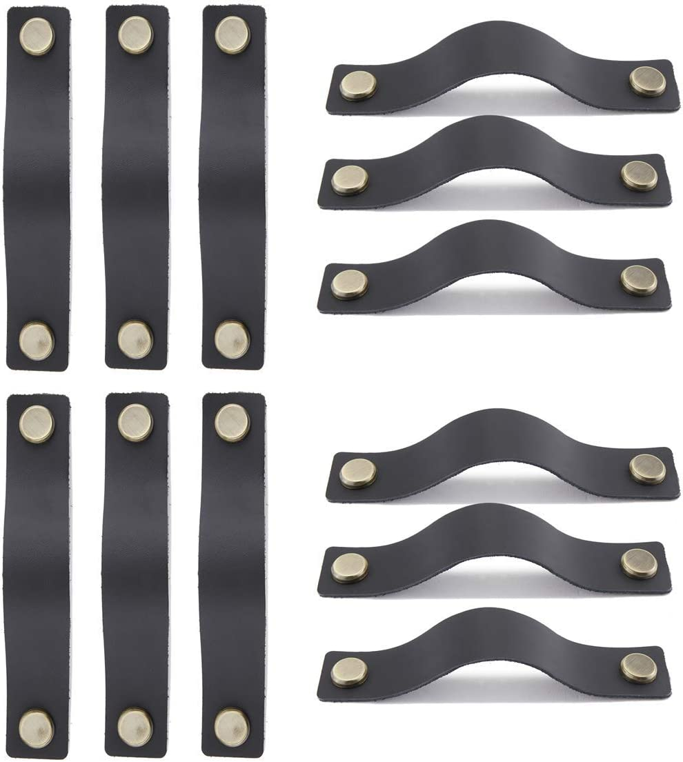 12 Pack Handmade Leather Drawer Pulls Handles for Dresser Black 2 Holes 5.1 Inch Hole to Hole