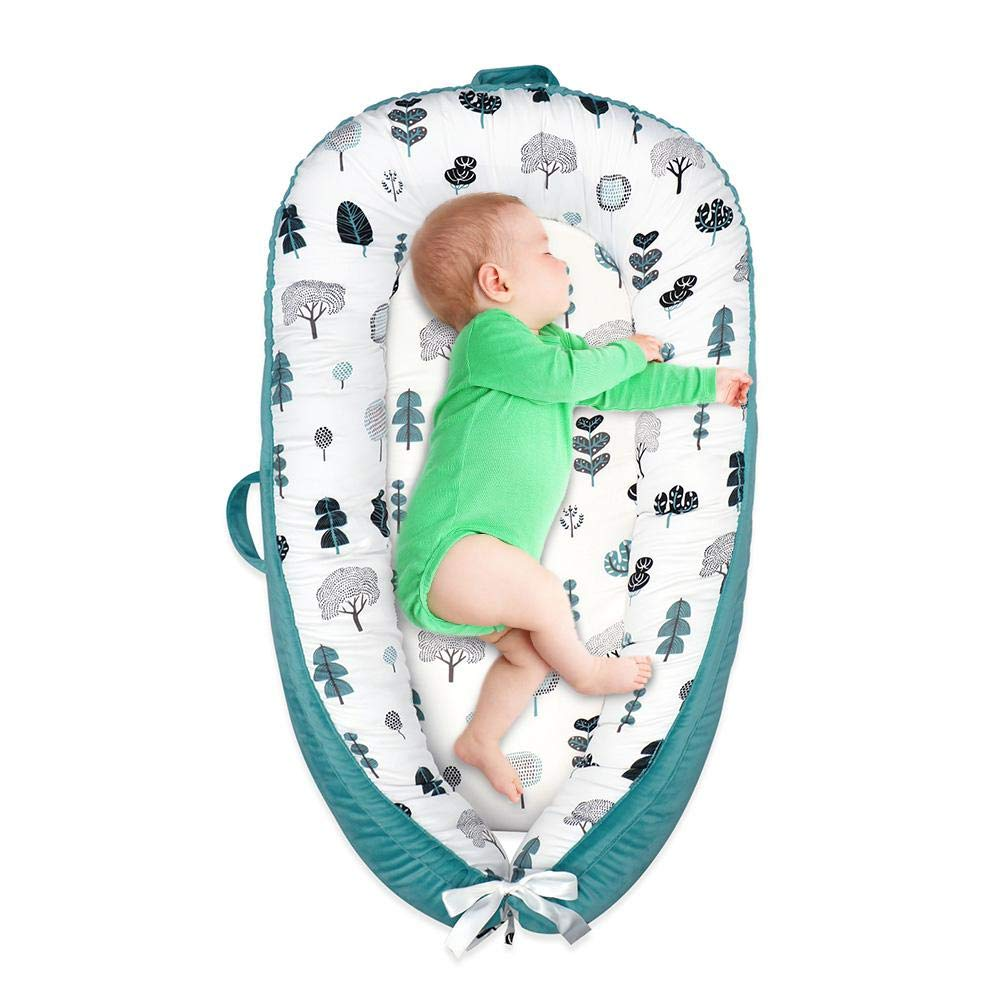 Baby Lounger Baby Nest Womdee Baby Nest Sharing Co-Sleeping Baby Bassinet Soft Cotton Pad Perfect For Cosleeping Breathable /& Hypoallergenic Portable Crib 100/% Organic Cotton Baby Portable Crib
