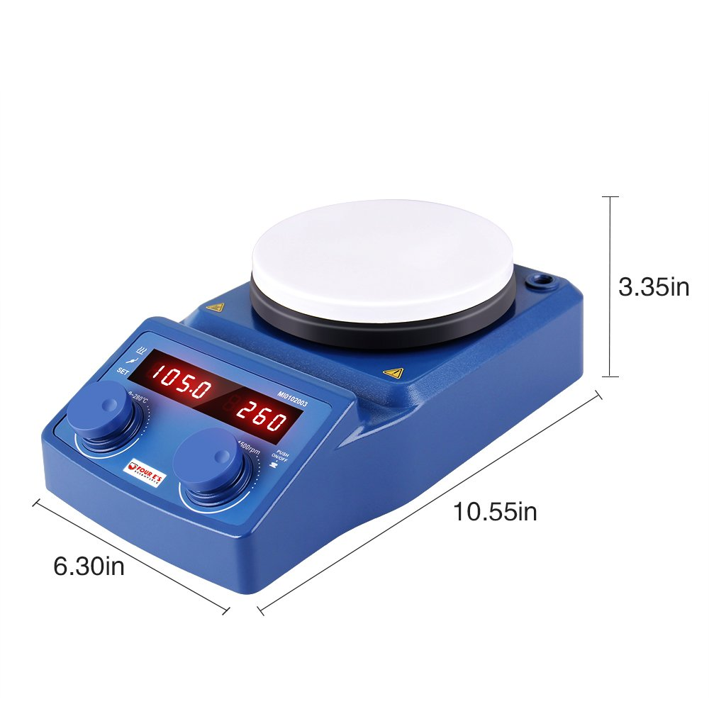 5 Inch LED Digital Magnetic Hotplate Stirrer - Four E's with Ceramic Coated Hotplate, 100-1500RPM, 5L, 600W - Benchtop Appliance for Scientific Research Clinics Classrooms Laboratory - US Plug by FOUR E'S SCIENTIFIC (Image #3)