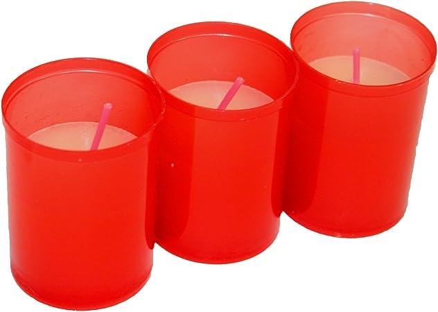 VELAS LUMAR Pack de 3 velones votivos Rojos: Amazon.es: Hogar