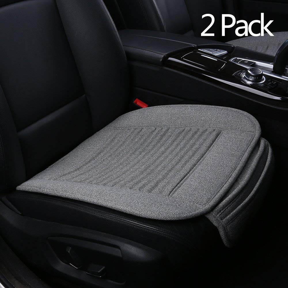 Suninbox Car Seat Cover 2Pc Buckwheat Hulls Gray Seat Covers for Trucks,Jeep,Universal Bottom Seat Covers for Cars,Driver Car Seat Cover Cushion 2Pc Gray Front Seats Only