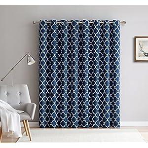 "HLC.ME Lattice Print Thermal Grommet Room Darkening Blackout Sliding Patio Door Curtain - Navy Blue - 100"" W x 84"" L"