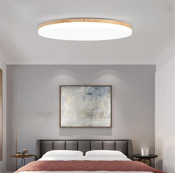 SJUN Deckenleuchte Holz Wohnzimmer Lampe Rund Flach Wohnzimmerlampe  Holzlampe Eiche Deckenlampe Schlafzimmer Vintage Leuchte Decken Licht Mit  LED ...