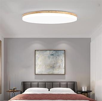 SJUN Deckenleuchte Holz Wohnzimmer Lampe Rund Flach Wohnzimmerlampe ...